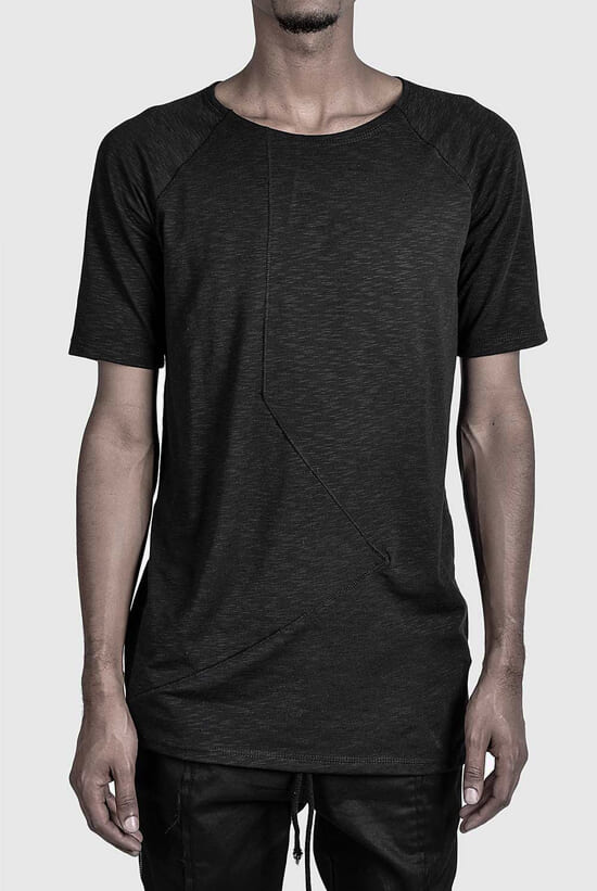 black avangarde high-end handcrafted t-shirt in panel cut